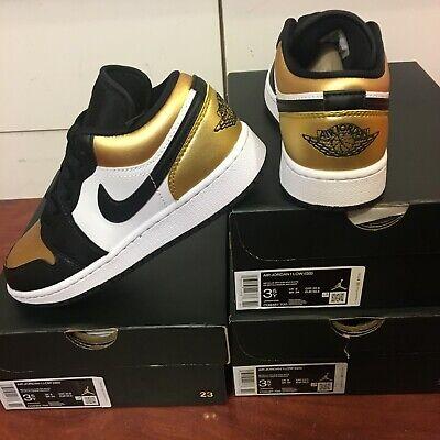 NEW AIR JORDAN 1 LOW GOLD TOE AJ1 RETRO SHOE CQ9487 700 BG GS YOUTH SZ 3.5Y | eBay