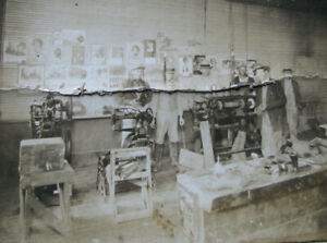 SHOEMAKER-COBBLER-WORK-SHOP-Cabinet-Photo-w-SINGER-SEWING-MACHINE-POSTERS-VTG