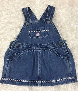 1b4c6095dfec OshKosh Baby Girl Overall Denim Dress Jumper 9 Months embroidery ...