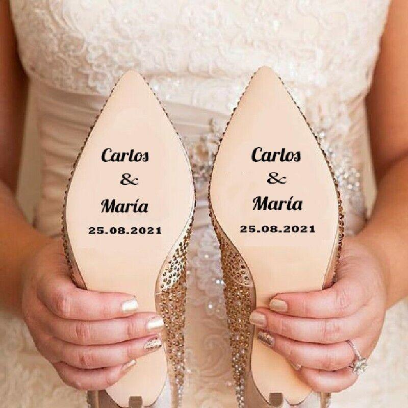 Pegatinas zapatos boda novia personalizadas con nombres y fecha