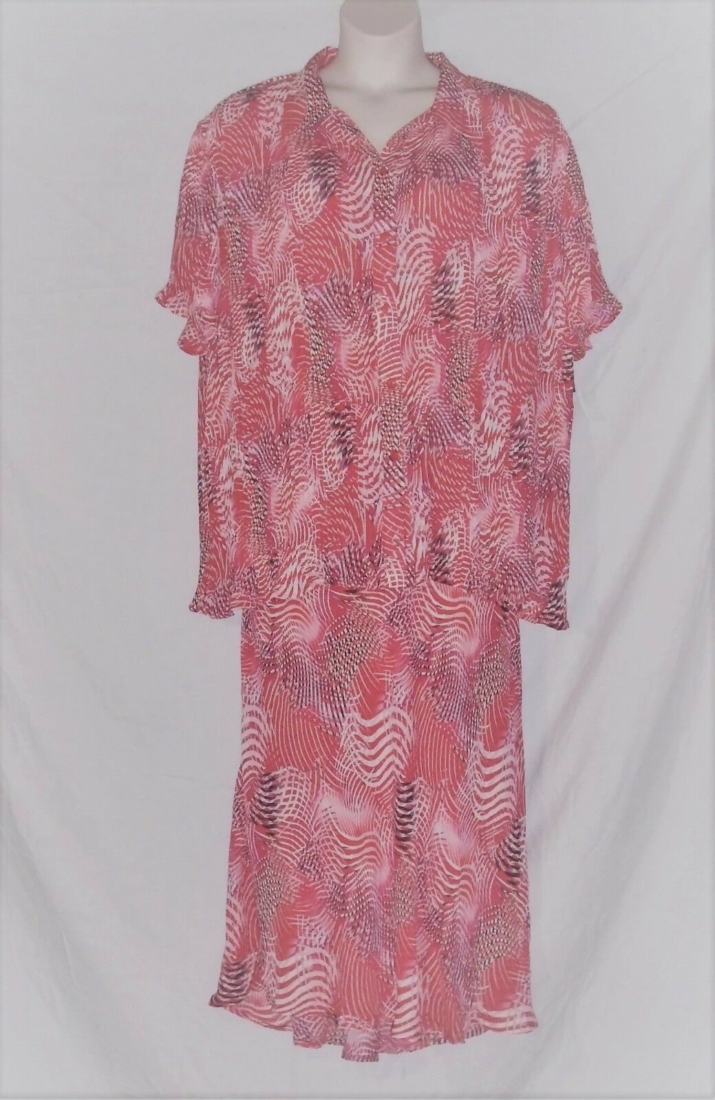 DRESS-U-II BY SHARON - LONG SKIRT & BLOUSE SET – CORAL & PINK – SIZE 3X –NWT