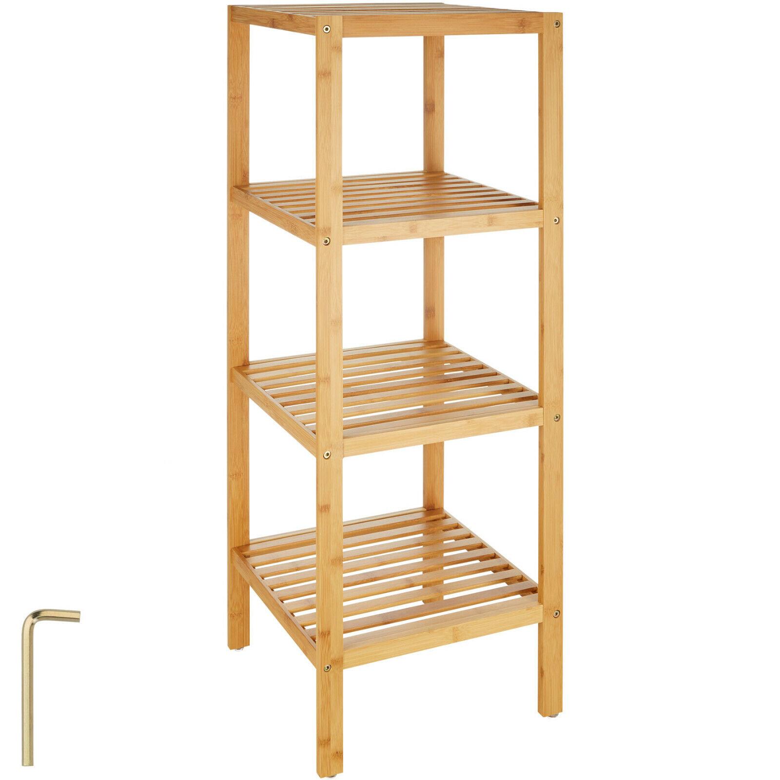 Estantería de madera bambú con 4 niveles para baño toallas librería organizador