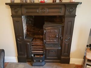antique victorian cast iron kitchen cooking range fireplace hob ebay