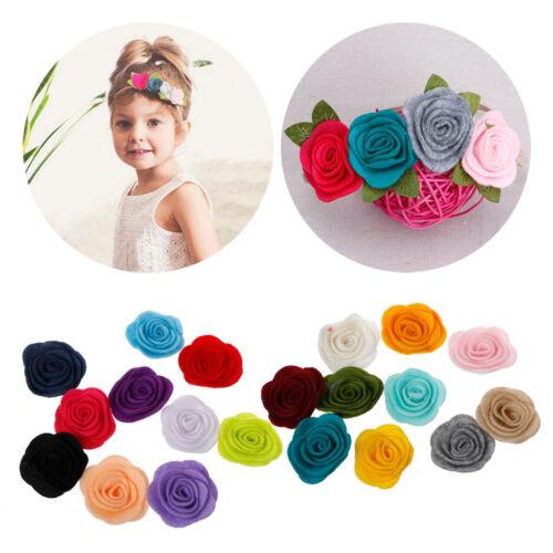 10pcs//lot Handmade Felt Rose Flower Diy for Hair Accessories Headband Ornaments