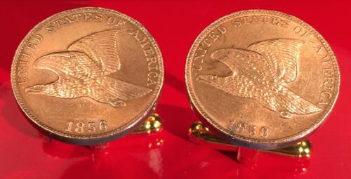 Gift Box! Flying Eagle Cent Penny Unique Coin Cufflinks Free S/&H 1856 U.S