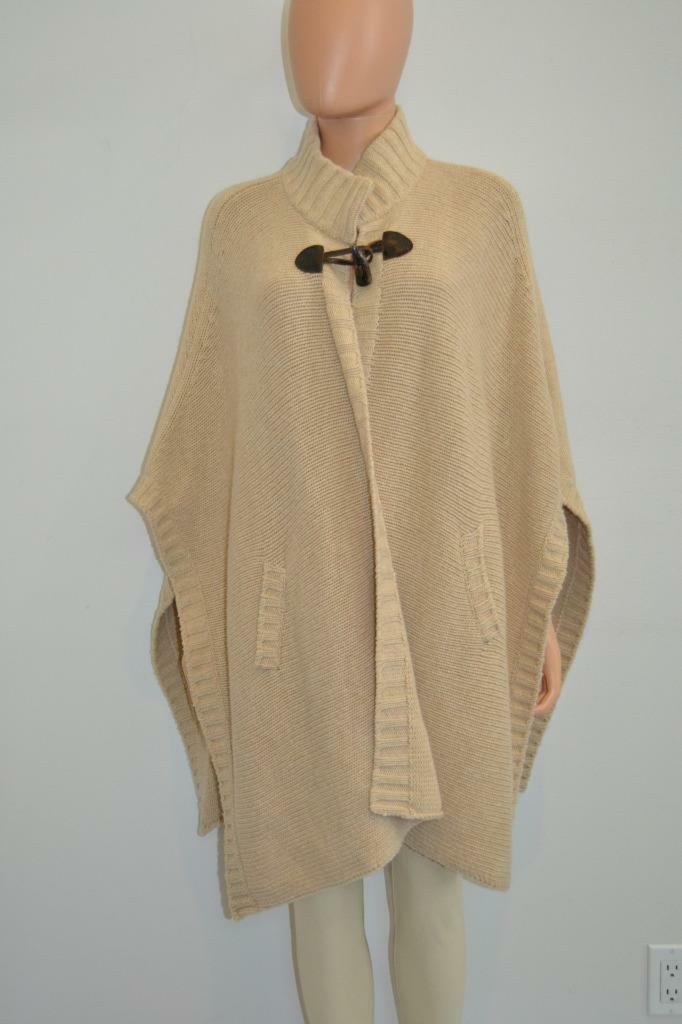 Anne Claire Khaki Wool Toggle Closure Poncho Cape, Size One Size
