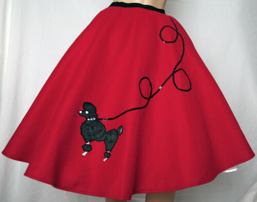 """5 Pc RED 50/'s Poodle Skirt Outfit Size Small Waist 25/""""-32/"""" Length 25/"""""""