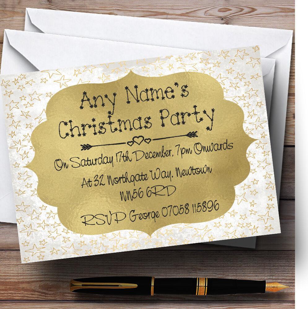 Golden étoiles étoiles Golden blanches invitations personnalisées fête de Noël d63e94