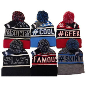 BOYS Slogan SKI BEANIE HAT with POM POM Bobble BLUE BLACK RED GREY ... a5a9d7e29c6