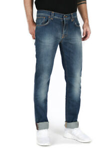 Nudie Herren Slim Fit Bio Denim Stretch Jeans Hose | Grim Tim Organic Strikey