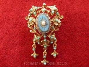 Broche-034-Neo-Classique-Table-des-Vents-034-N-7-Turquoises-Bijoux-Vintage-Sphinx