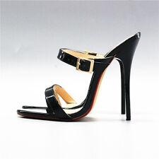14 cm Sexy sky high heels patent black sandals fetish high heels US12 43