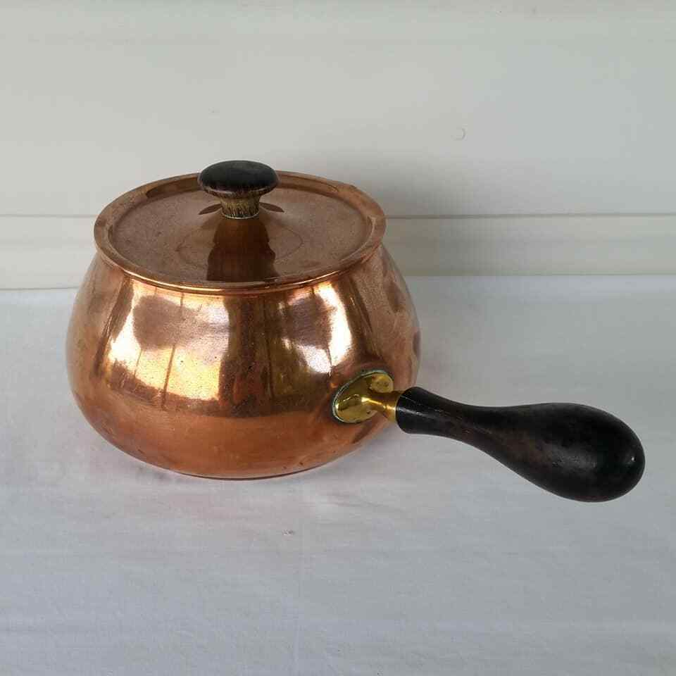 Vintage Copper Pan Pot with Lid Wood Handle  Rustic