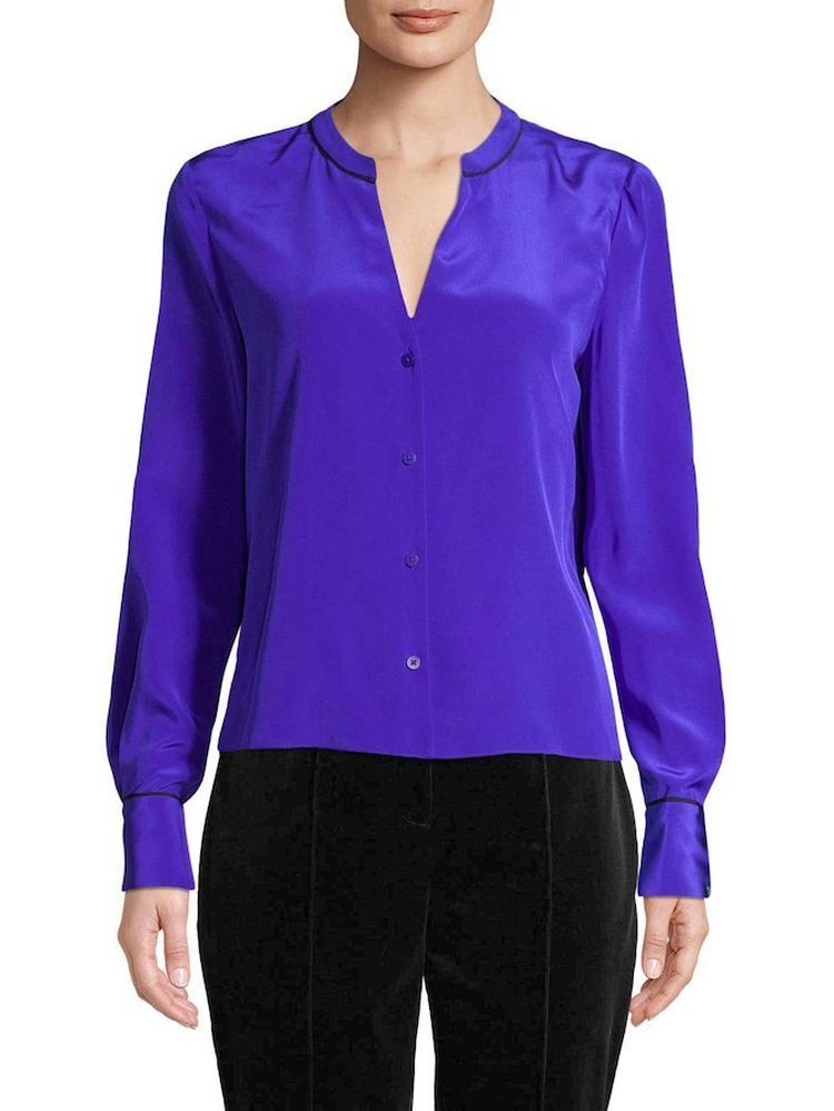 NWT Diane von Furstenberg Silk Blouse in Electric Blau 14