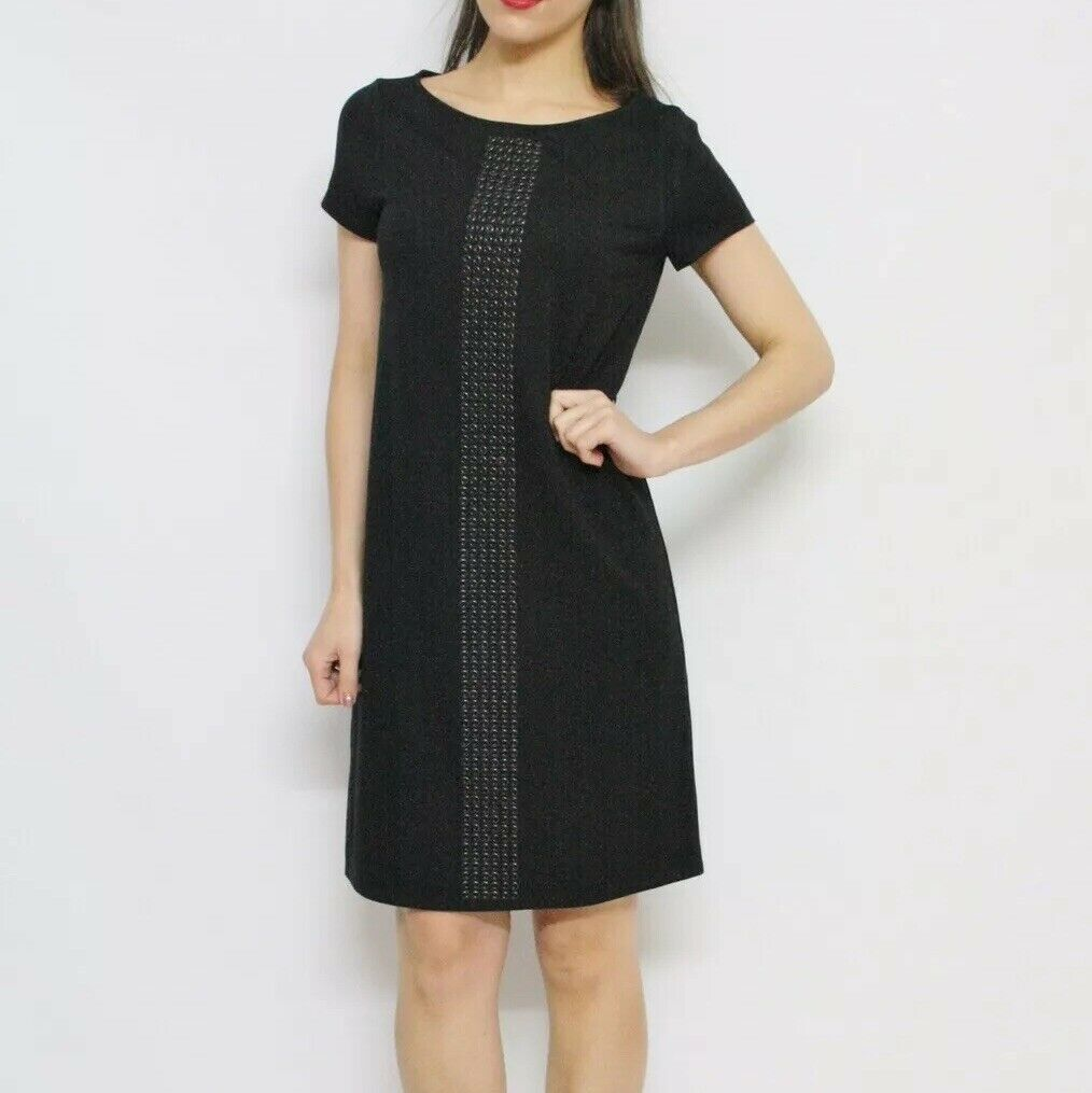 savingglory MAX & CO MAXMARA schwarz Grommet Detail T-Shirt Dress Größe Medium M