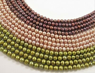 5 mm Potato Cultured Freshwater Pearl Beads Peacock OR Silver Green Color #652