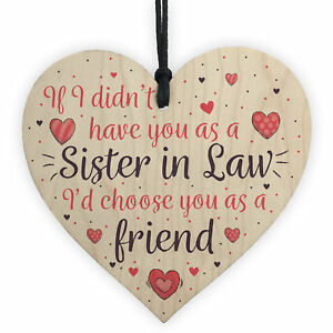 Image Is Loading Sister In Law Friendship Gift Handmade Wood Heart