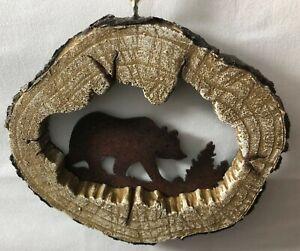 Bear Log Ornament - Lodge Log Cabin Decor  Grizzly Bear Xmas Ornament Black Bear