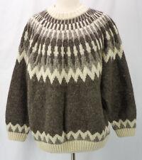 Vintage Lands End Brown + Cream Crew Sweater ALPACA + Wool Ski Knit Womens M