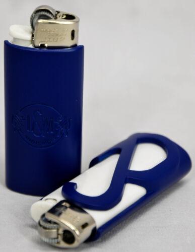 L/&M Tabak Mini BIC Feuerzeug in Cover Metallhülle blau