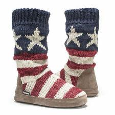 NWT Muk Luks Vanessa AMERICAN FLAG Fleece-Lined Sweater Slipper Boots M 7/8 Red
