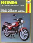 Honda CB/CD125T and CM125C Twins 1977-88 Owner's Workshop Manual by Jeremy Churchill (Paperback, 1989)