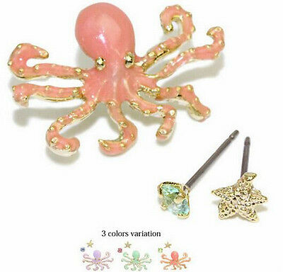 3pcs/Set Exquisite Lovely Octopus Starfish Crystal Lady Stud Earrings 3 Color