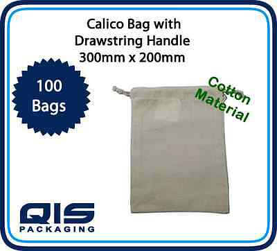 100 Calico Material Cotton Bags Drawstring 300mm x 200mm cotton quality natural