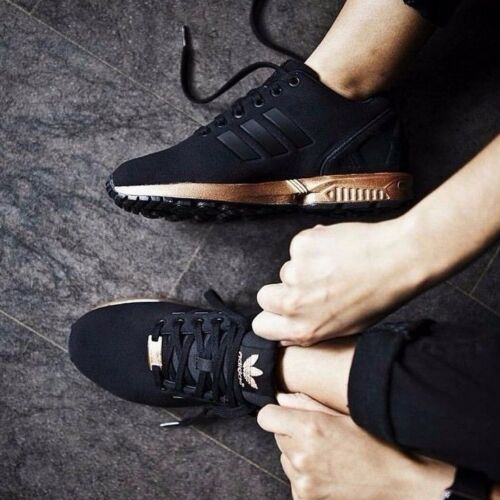 adidas zx flux trainers – black and copper