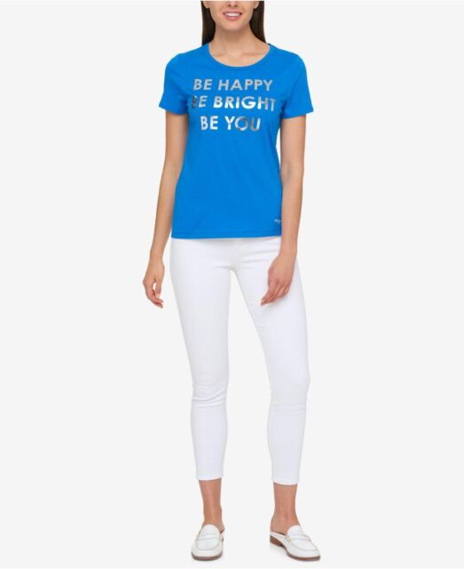 Tommy Hilfiger Blue Orchid Be Happy Metallic Graphic T shirt XXL