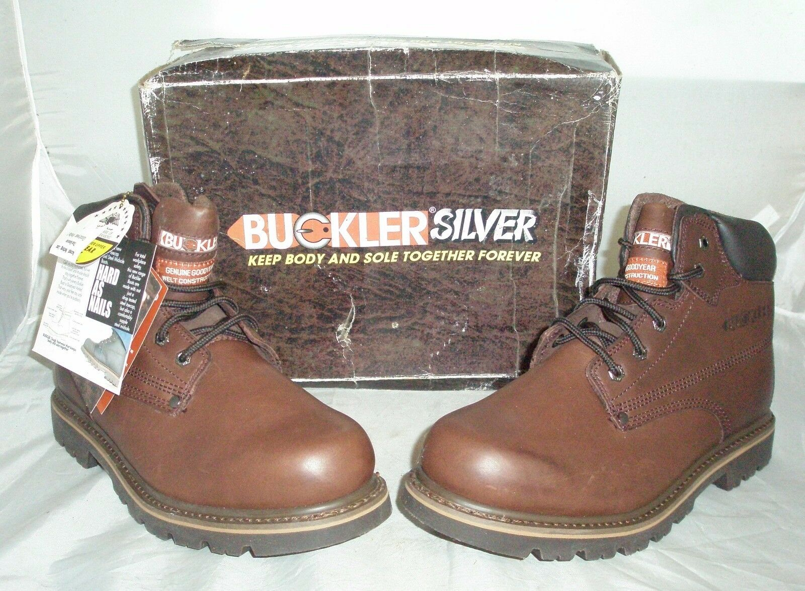 Men's Buckler Silver Brown Leather Boots Size 11