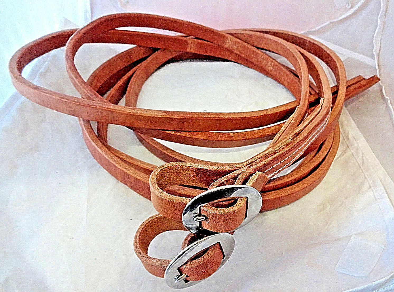 Pair Heavy Hermann Oak Harness Leather Split Reins Stainless Buckles 8ft+ 5 8