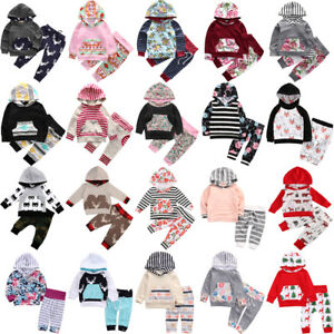 2PCS Newborn Kids Baby Girl Boy Hooded Tops Sweatshirt +Pants Tracksuit Outfits
