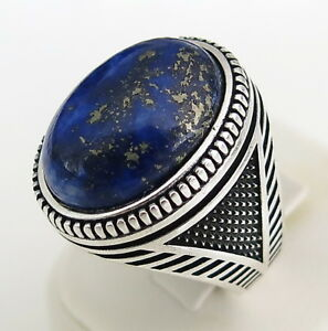 Handmade-Natural-lapis-lazuli-Stone-925-Sterling-Silver-Men-039-s-Woman-039-s-Ring-A63