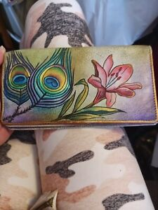 Anuschka Peacock Feather & Lily Wallet