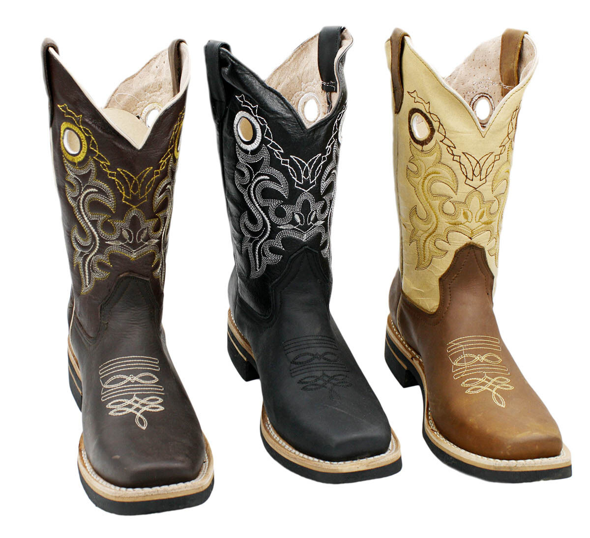 MEN'S RODEO COWBOY BOOTS GENUINE LEATHER WESTERN SQUARE TOE BOTAS  CAR721