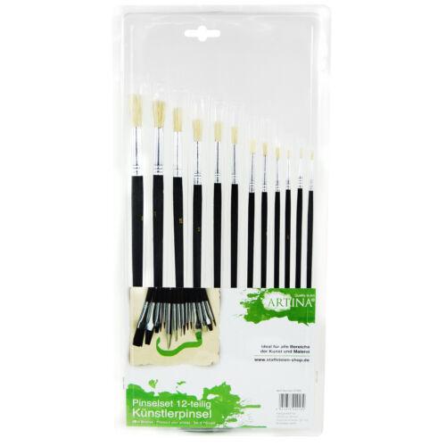 Pinselset Pinsel-Set Rundpinsel Flachpinsel Künstlerpinsel Malpinsel Schulpinsel