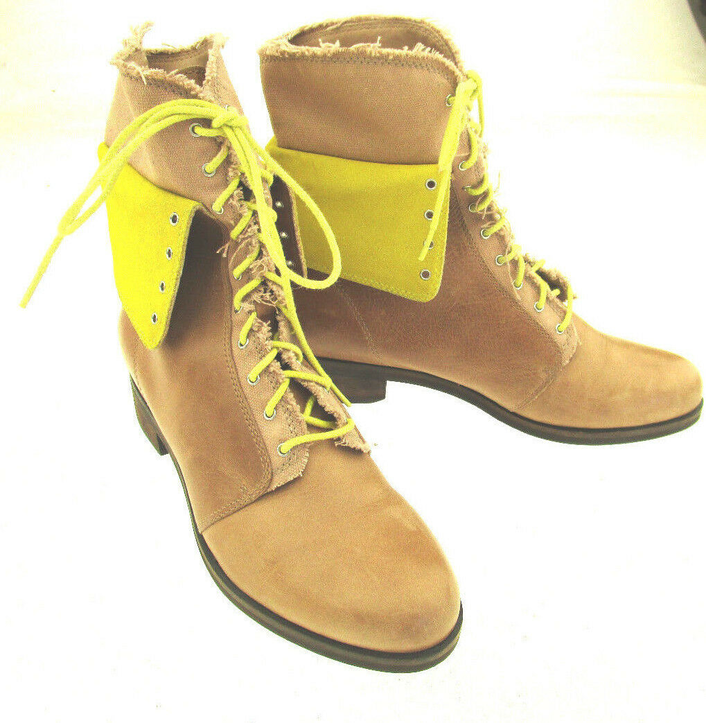 Cole Haan Women's Leather Fabric Upper Lace-Up Foldable Cuff Boots 7.5B