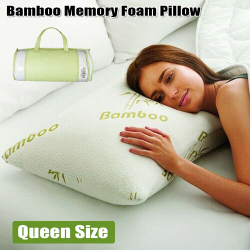 1pc Bamboo Shredded Memory Foam Bed Pillow with Hypoallergenic Cover Queen Size