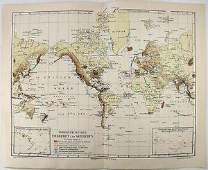 Original 1894 world map of earthquakes and tsunamis by meyers ebay image is loading original 1894 world map of earthquakes and tsunami gumiabroncs Choice Image