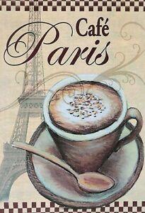 Cafe-Paris-Tour-Eiffel-Panneau-Metallique-Plaque-Voute-Etain-Signer-20-X-30-CM