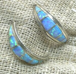 Sterling-Silver-Blue-Opal-Inlay-Half-Moon-Shaped-Earrings-E1522