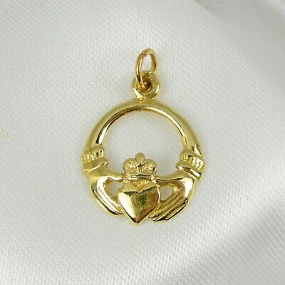 9ct Yellow Gold Irish Claddagh Shape Hands//Love Clip-on Charm Pendant Gift Boxed