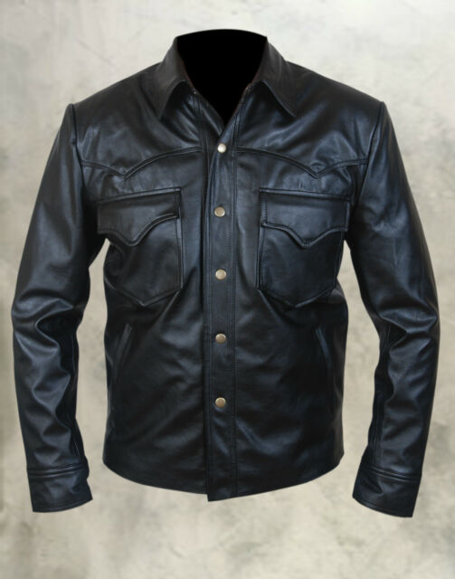 The Walking Dead Governor David Morrissey Sheep Napa Leather Jacket in Black