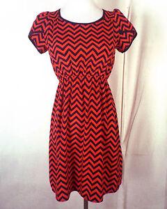 euc-Soprano-red-blue-Chevron-Pattern-Dress-Minidress-Elastic-Waist-sz-XS