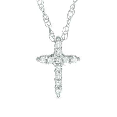 Zales Natural Diamond Accent Bold Cross Pendant In 10k
