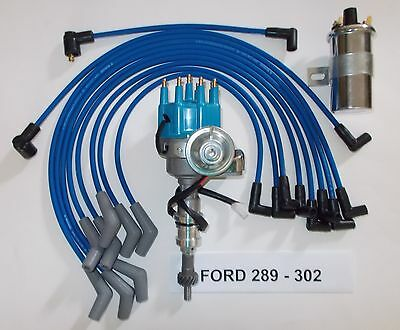 SMALL BLOCK FORD 289-302 BLUE Small HEI Distributor + 45K Coil +SPARK PLUG WIRES