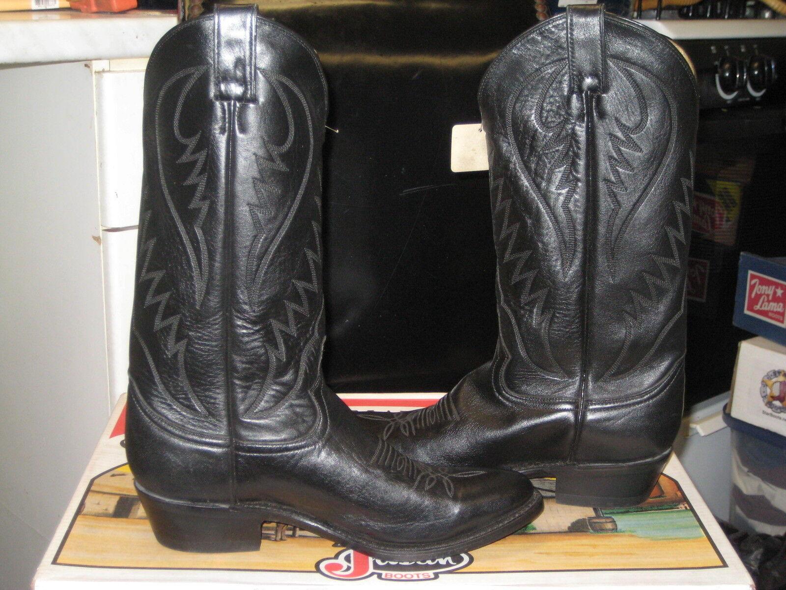 Diamond J by Justin Para hombre botas occidentales-Negro Doe Piel 52005 M d NUEVO