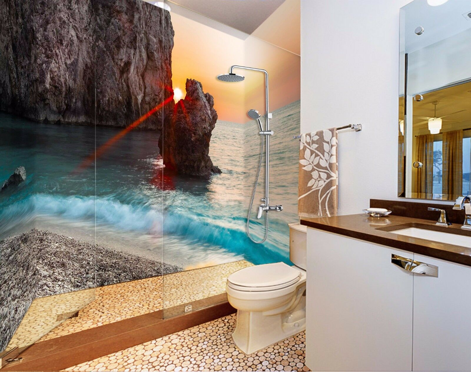 3D Sunrise Sea View 538 WallPaper Bathroom Print Decal Wall Deco AJ WALLPAPER AU