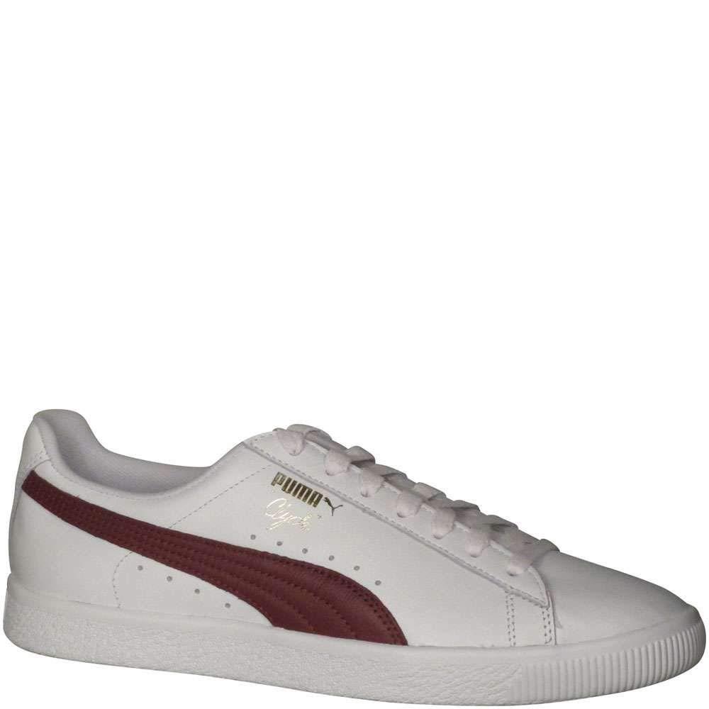PUMA Men's Clyde Core L Foil Fashion Sneakers White Cabernet Team gold